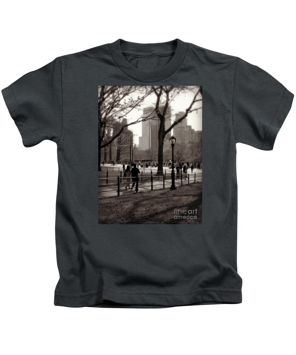 Central Park Kids T-Shirt featuring the photograph A Walk In Central Park - Antique Appeal by Miriam Danar