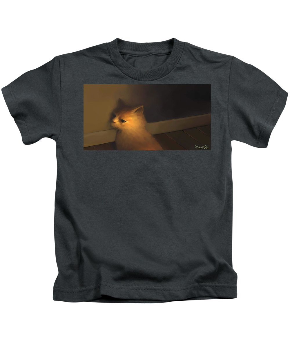 Diane Strain Kids T-Shirt featuring the painting A Warm Corner For Kitty  No.1 by Diane Strain