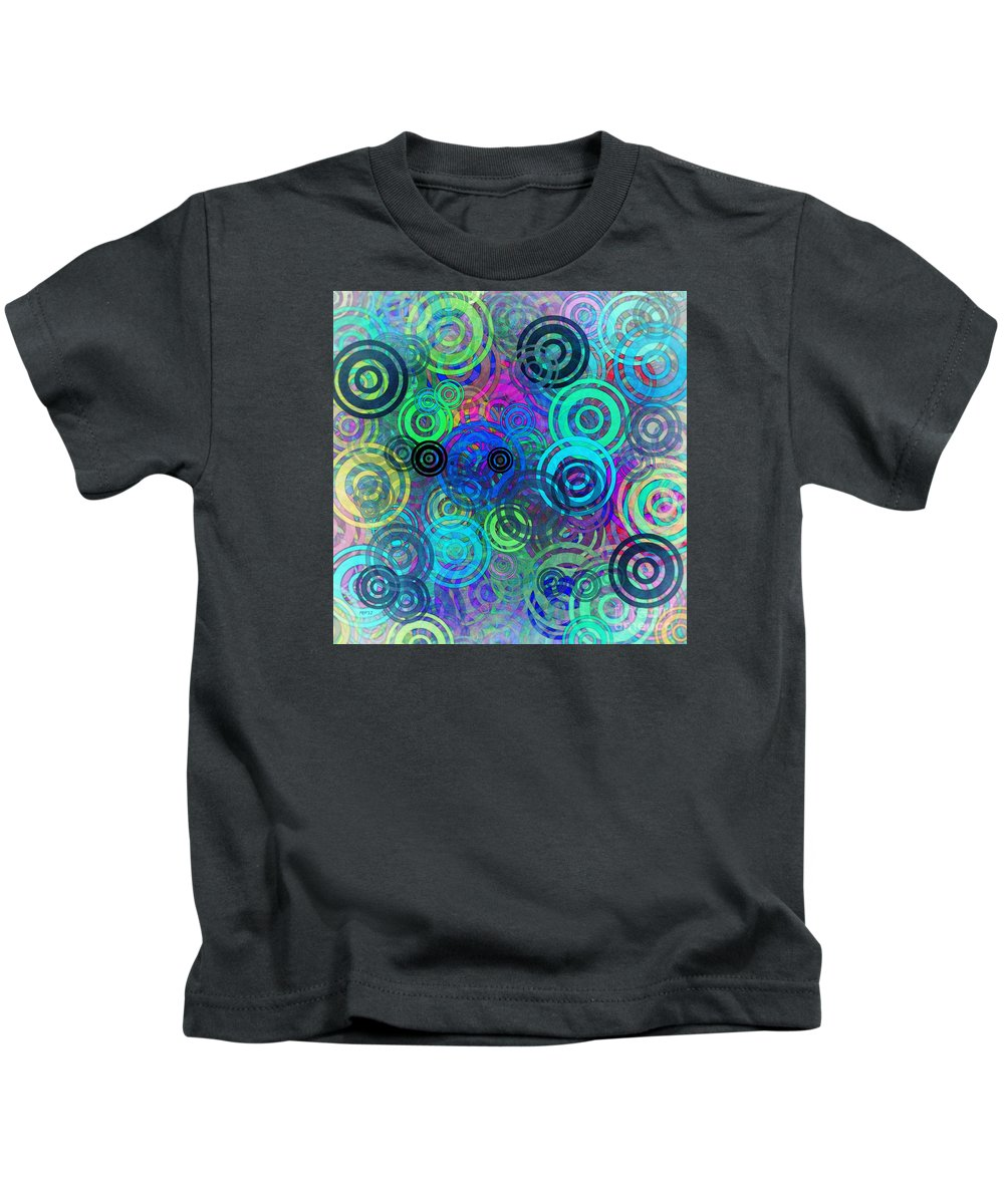 Graphic Design Kids T-Shirt featuring the digital art Abstract Colorful Rings by Phil Perkins