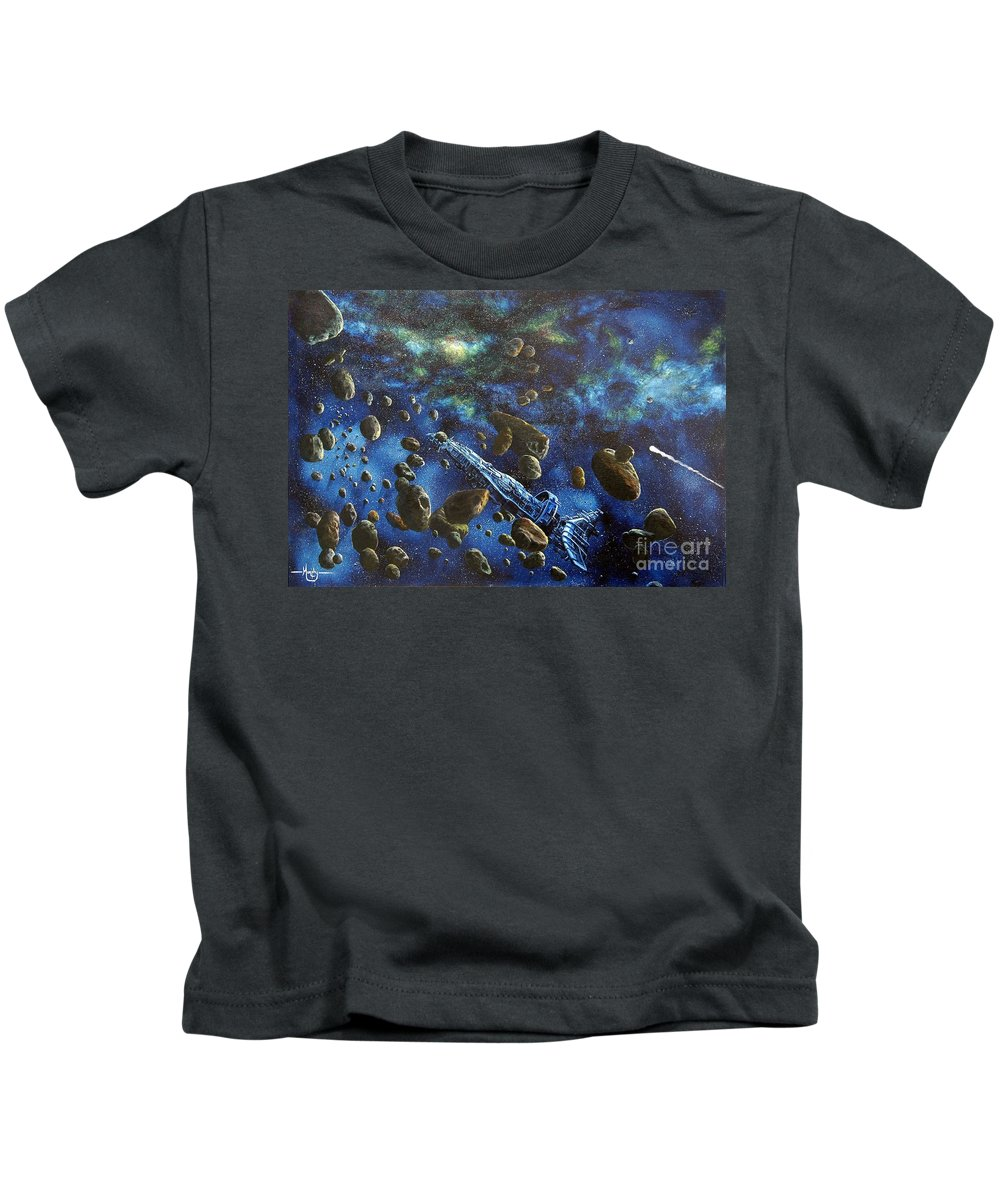 Canvas Kids T-Shirt featuring the painting Accidental Asteroid by Murphy Elliott