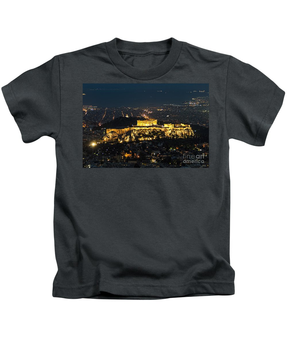 Athens Kids T-Shirt featuring the photograph Acropolis At Night by Paul and Helen Woodford