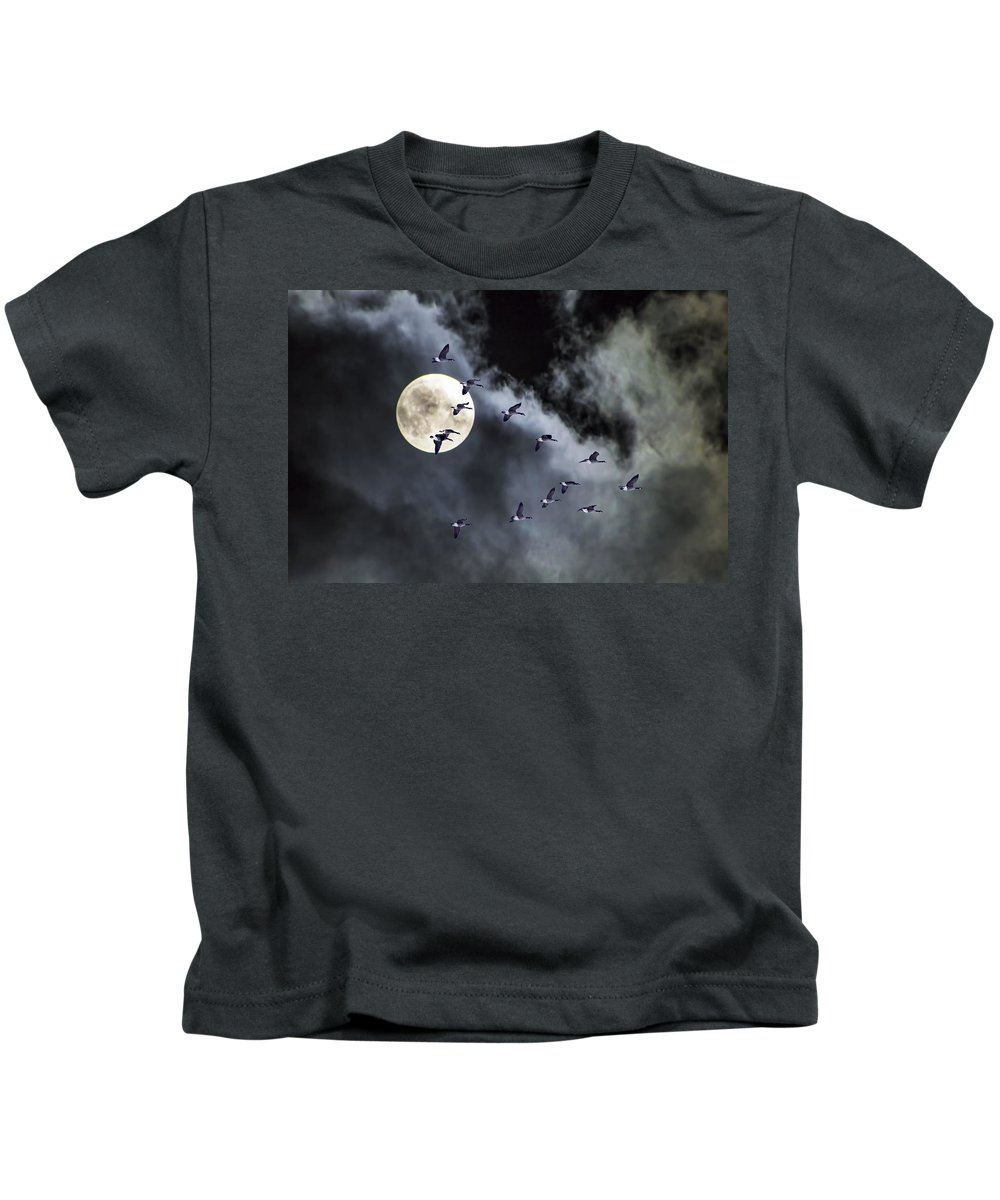 Art Kids T-Shirt featuring the photograph Across A Harvest Moon by Randall Nyhof