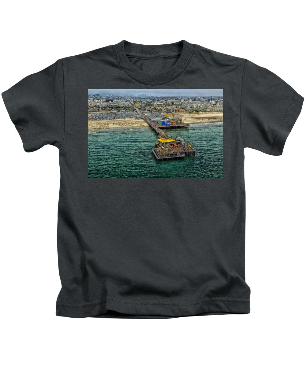 Aerial View Kids T-Shirt featuring the photograph Aerial View Of Santa Monica Pier by Mountain Dreams