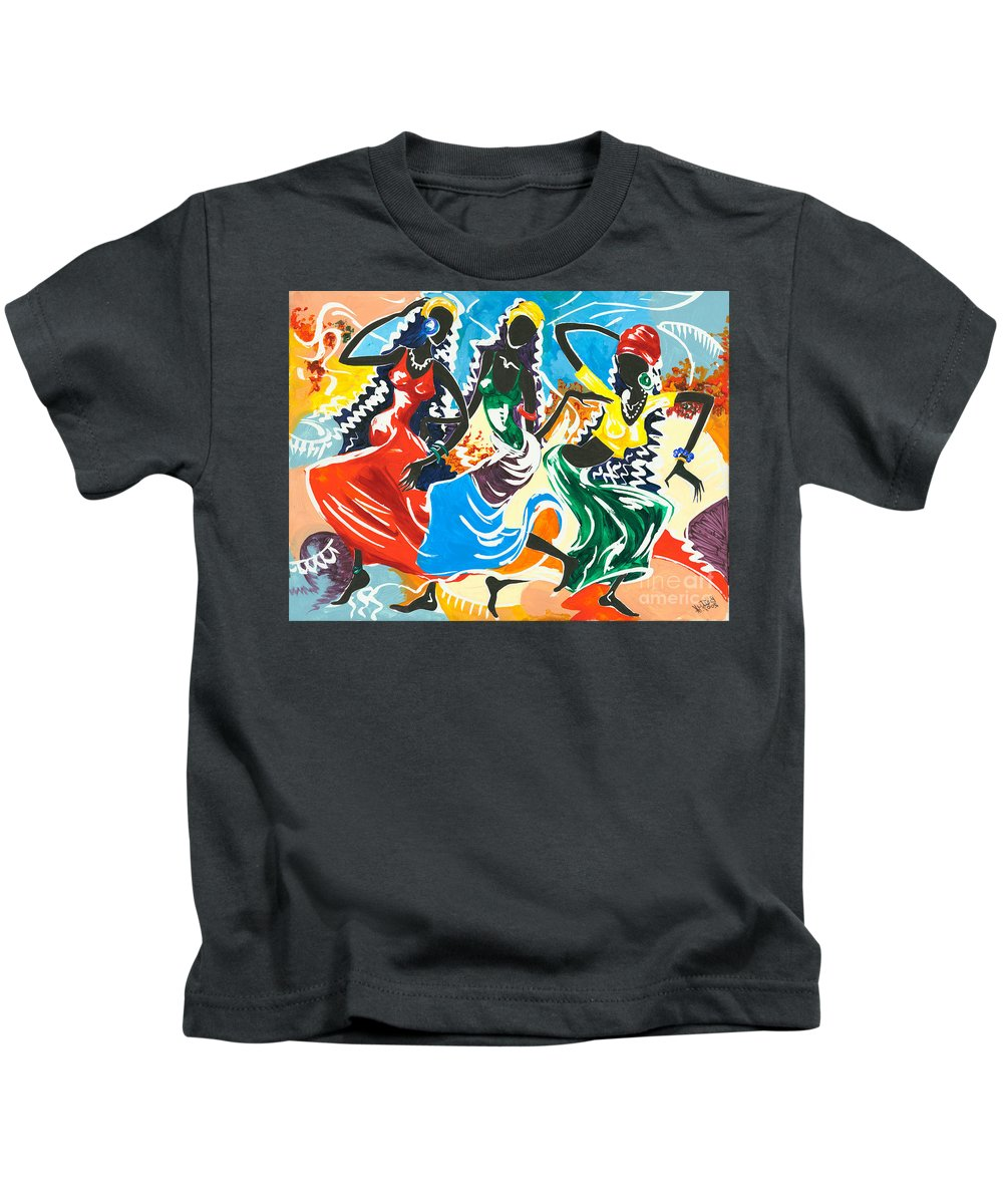 Canvas Prints Kids T-Shirt featuring the painting African Dancers No. 2 by Elisabeta Hermann