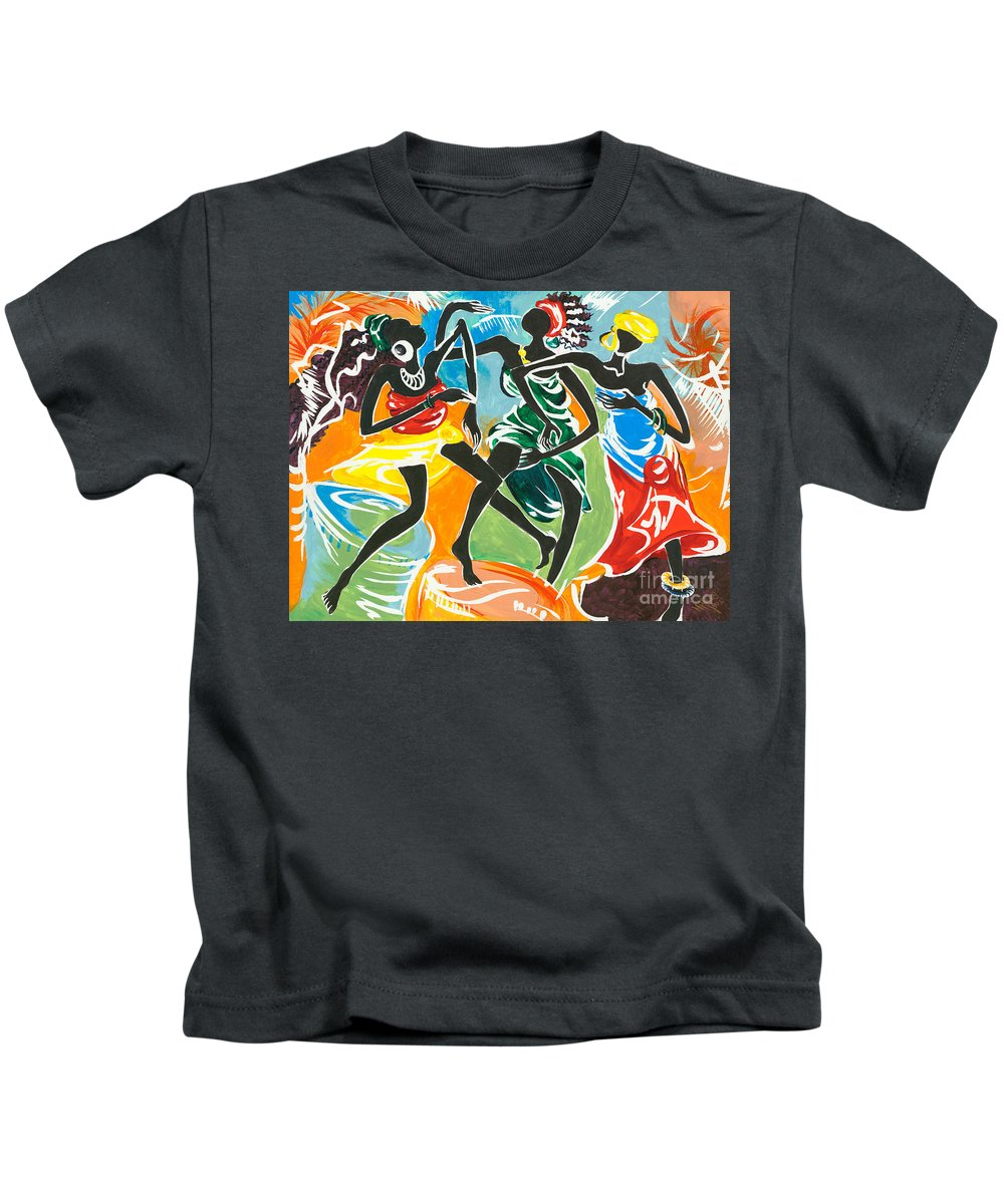 African Kids T-Shirt featuring the painting African Dancers No. 3 by Elisabeta Hermann