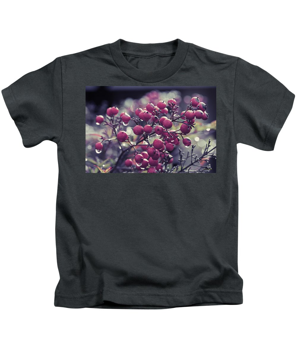 Berries Kids T-Shirt featuring the photograph After The Rain by Angela Stanton