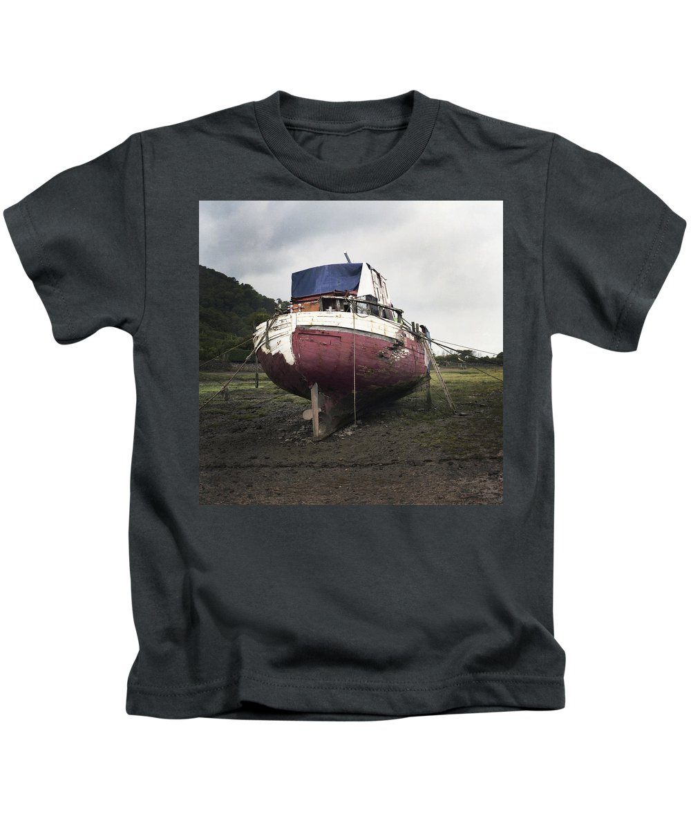 Uk Kids T-Shirt featuring the photograph Aground by Christopher Rees