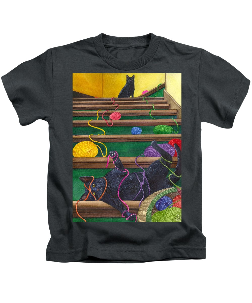 Cat Kids T-Shirt featuring the painting All Caught Up by Catherine G McElroy