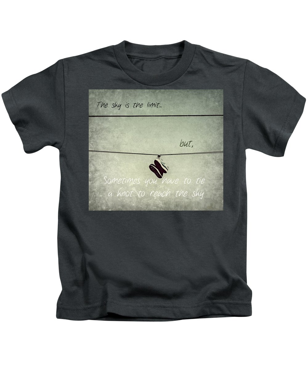 Shoes Kids T-Shirt featuring the photograph All Tied Up Inspirational by Melanie Lankford Photography