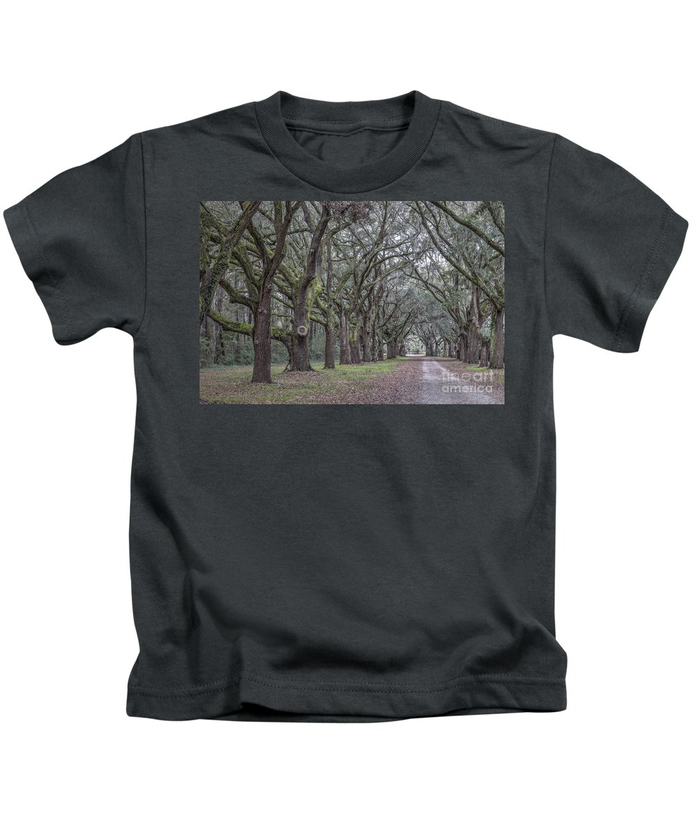 Allee Kids T-Shirt featuring the photograph Allee Of Oak Tree's by Dale Powell