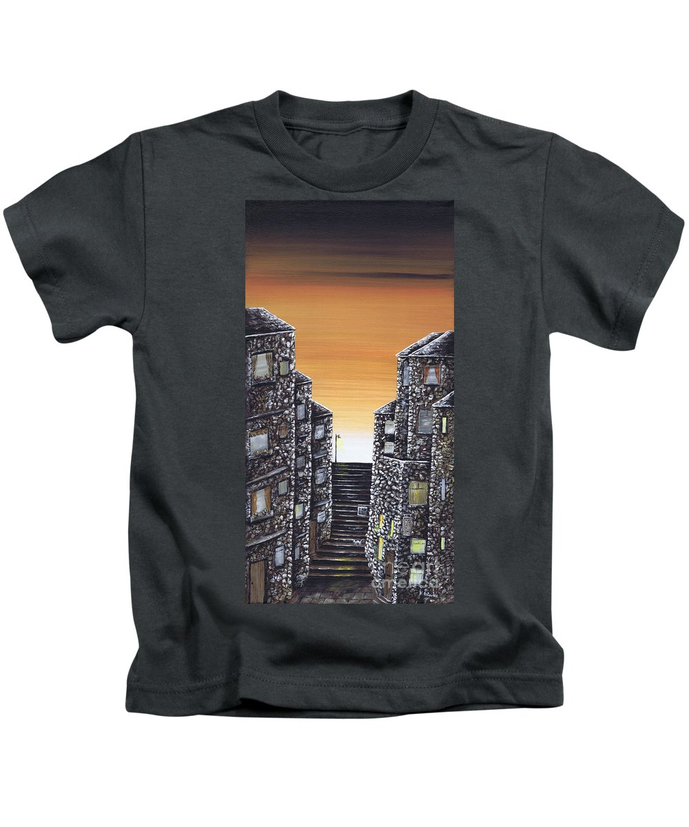 Alley Cat Kids T-Shirt featuring the painting Alley Cat by Kenneth Clarke