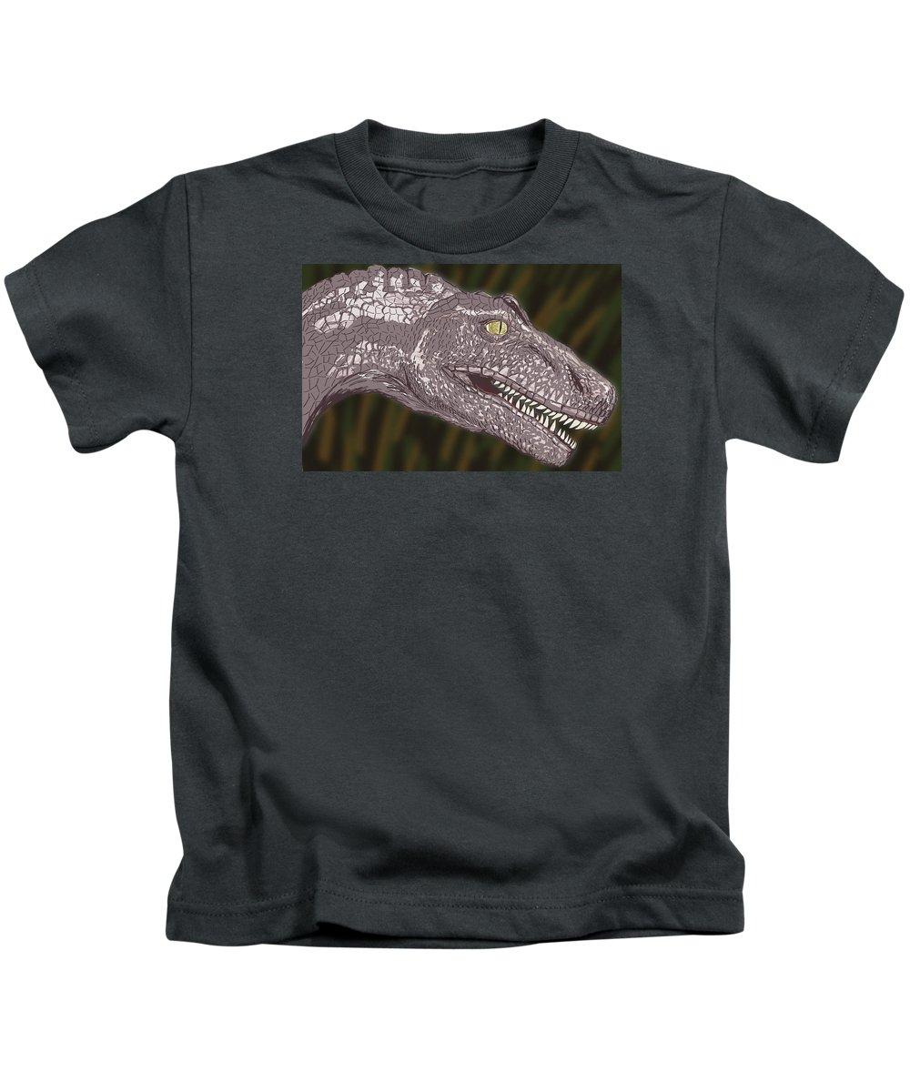 Dinosaur Kids T-Shirt featuring the digital art Allosaurus by Jeffrey Oleniacz