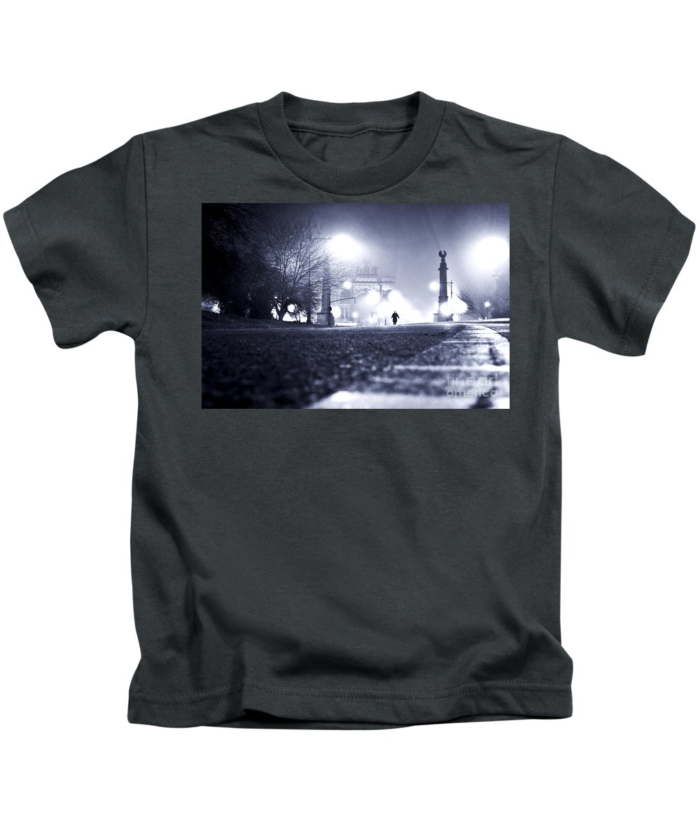 New York City Kids T-Shirt featuring the photograph Alone Brooklyn Nyc Usa by Sabine Jacobs