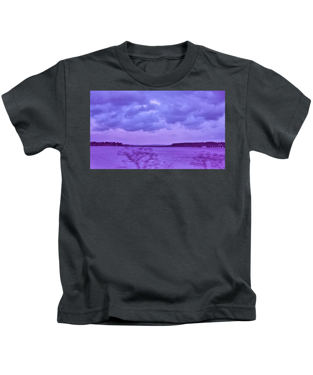 Clouds Kids T-Shirt featuring the photograph Along My Travels by Amy-Elizabeth Toomey