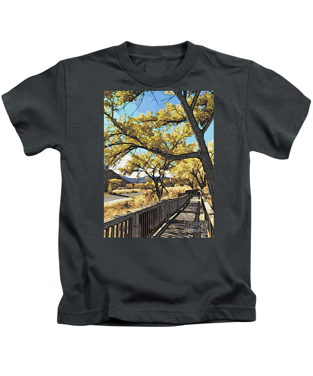 Boardwalk Kids T-Shirt featuring the photograph Along The Path by Jacklyn Duryea Fraizer
