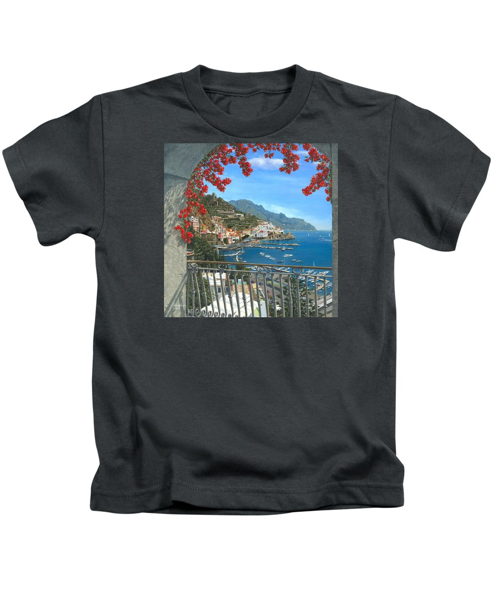 Landscape Kids T-Shirt featuring the painting Amalfi Vista by Richard Harpum