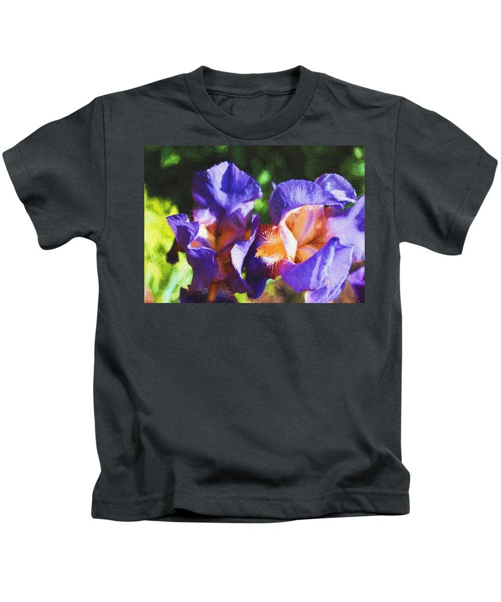 Iris Kids T-Shirt featuring the digital art Amazing Iris by Cathy Anderson