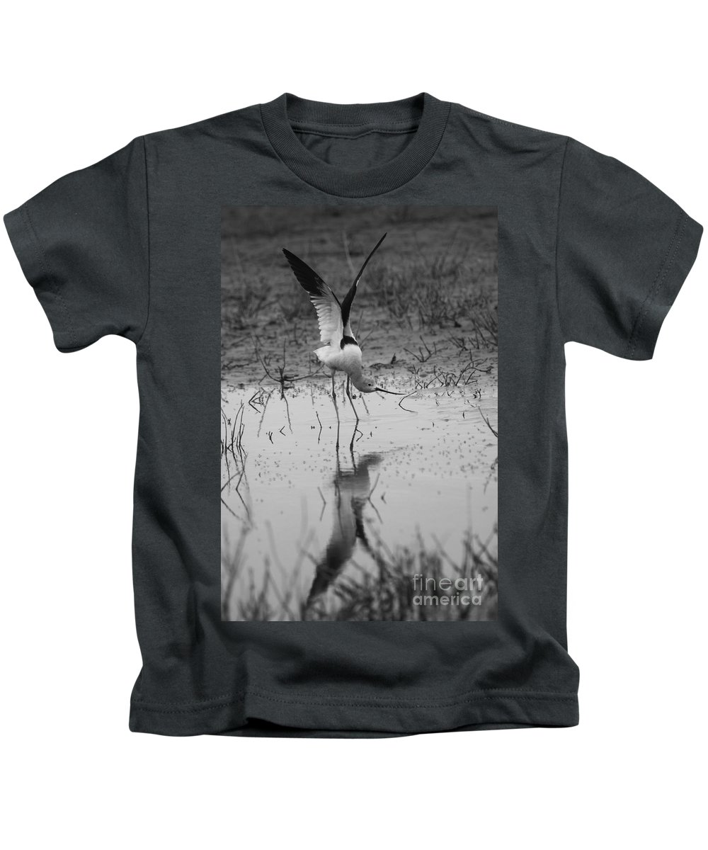 American Avocet Kids T-Shirt featuring the photograph American Avocet Reflection by John F Tsumas