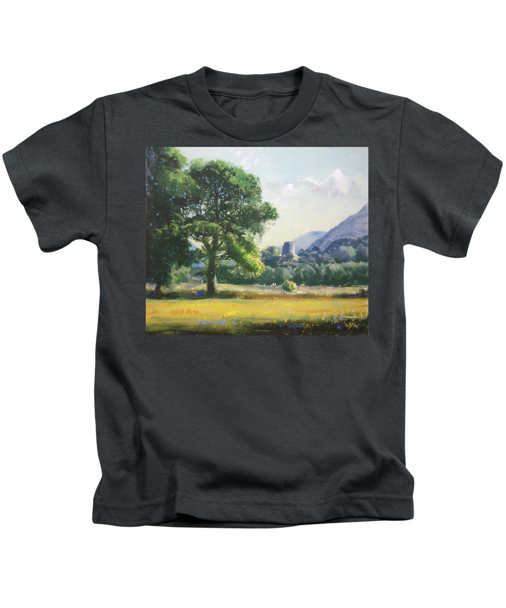Landscape Kids T-Shirt featuring the painting An Englishman's Castle by Derek Williams