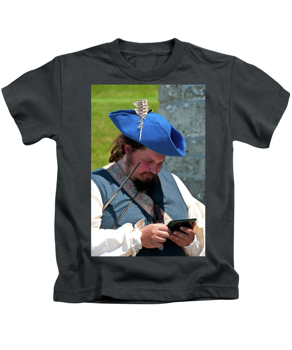 French & Indian War Re-enactor Kids T-Shirt featuring the photograph Anachronism 6957 by Guy Whiteley