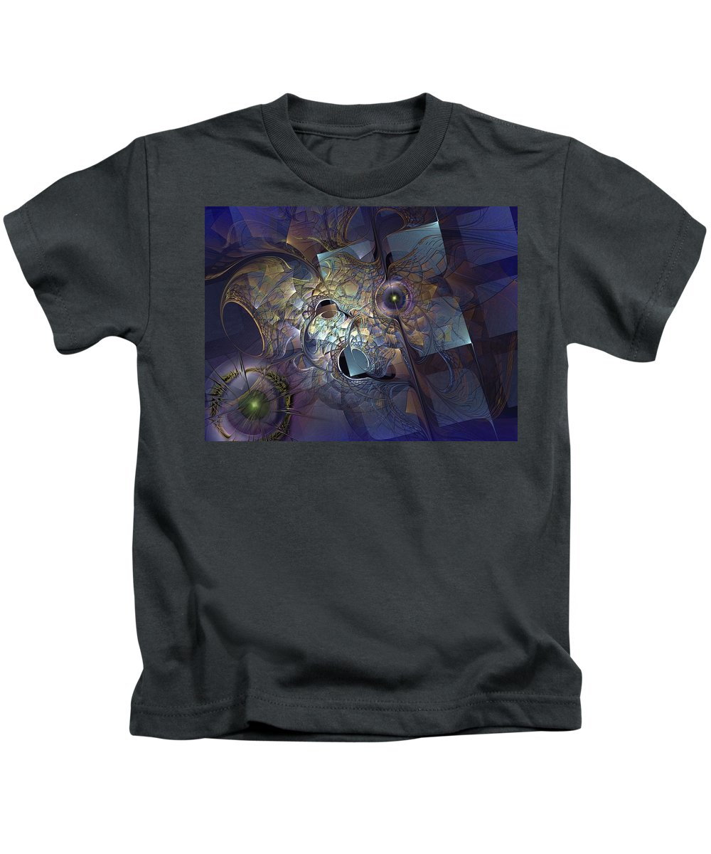 Abstract Kids T-Shirt featuring the digital art Ancestral Monolith by Casey Kotas