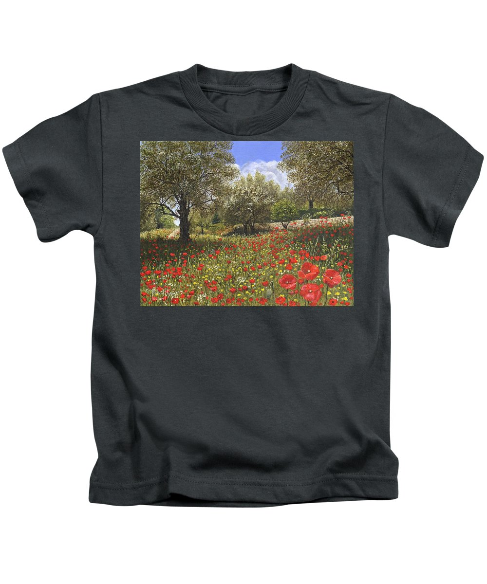 Landscape Kids T-Shirt featuring the painting Andalucian Poppies by Richard Harpum
