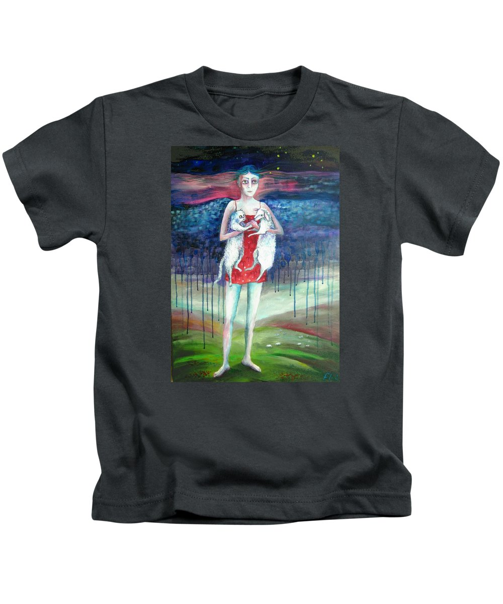 Modern Art Kids T-Shirt featuring the painting Angels Of Zodiac. Aries The Ram by Elisheva Nesis
