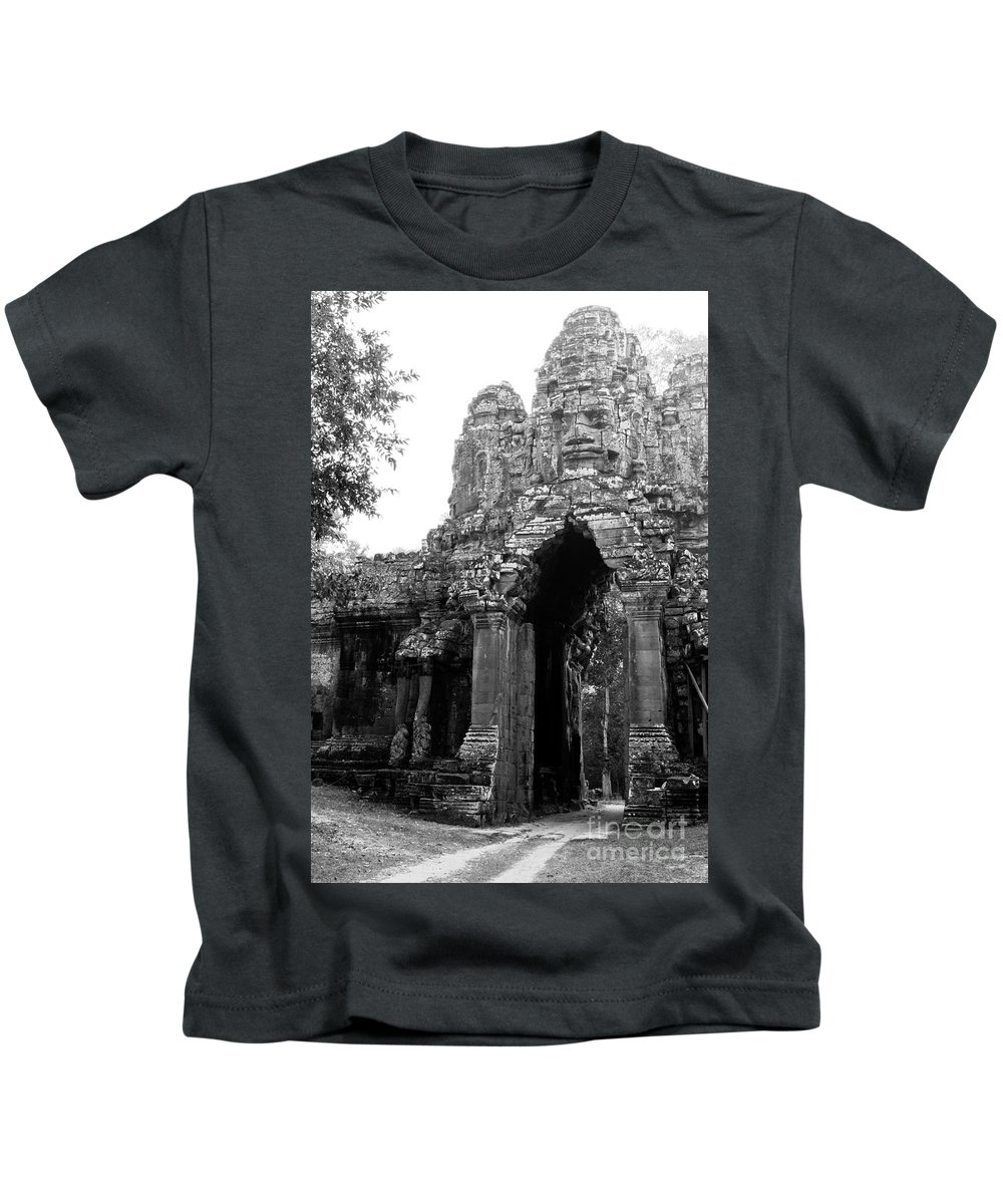 Angkor Kids T-Shirt featuring the photograph Angkor Thom East Gate 01 by Rick Piper Photography