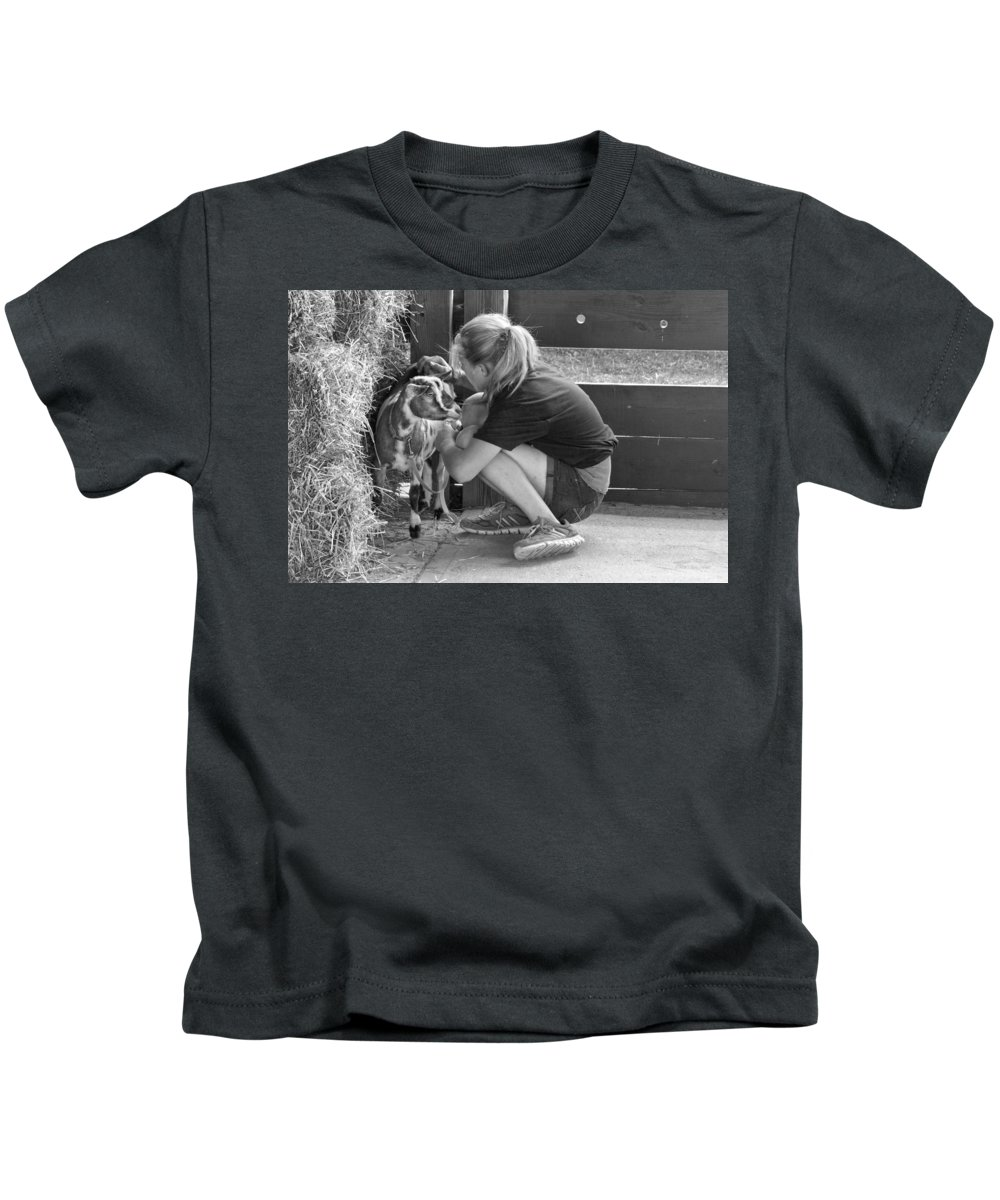 Girl Kids T-Shirt featuring the photograph Animal - Goat - A Girl And Her Goat by Mike Savad