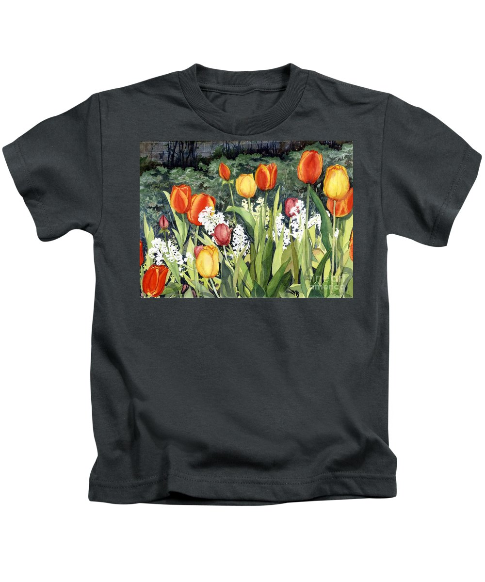 Flowers Kids T-Shirt featuring the painting Ann's Tulips by Barbara Jewell