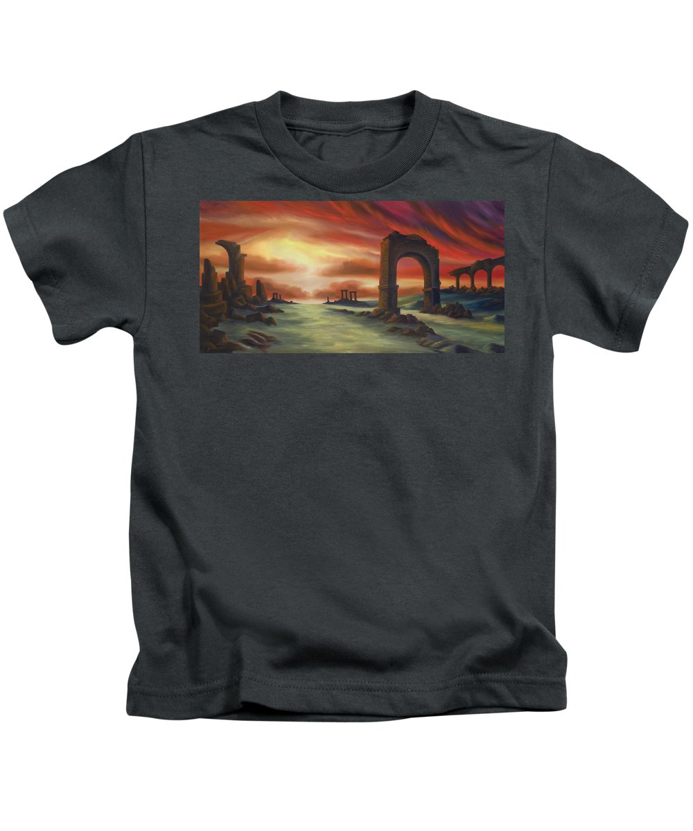 Sunset Kids T-Shirt featuring the painting Another Fallen Empire by James Christopher Hill