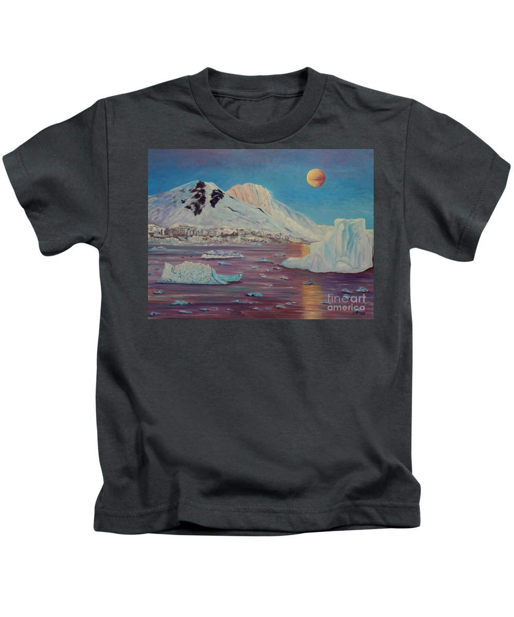 Landscape Kids T-Shirt featuring the painting Antarctica by Caroline Street