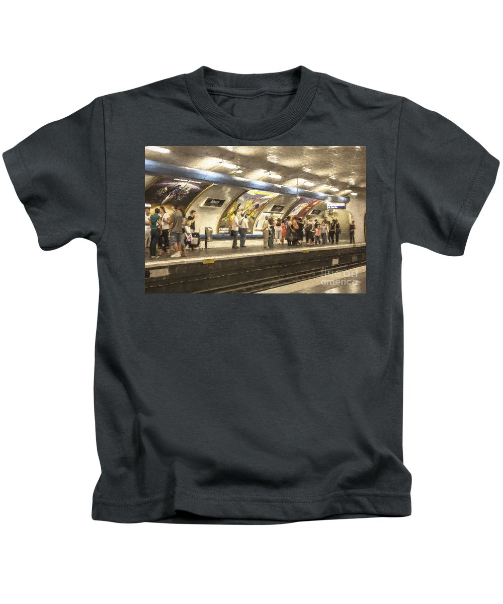 Anvers Kids T-Shirt featuring the photograph Anvers Metro station in Paris by Sheila Smart Fine Art Photography