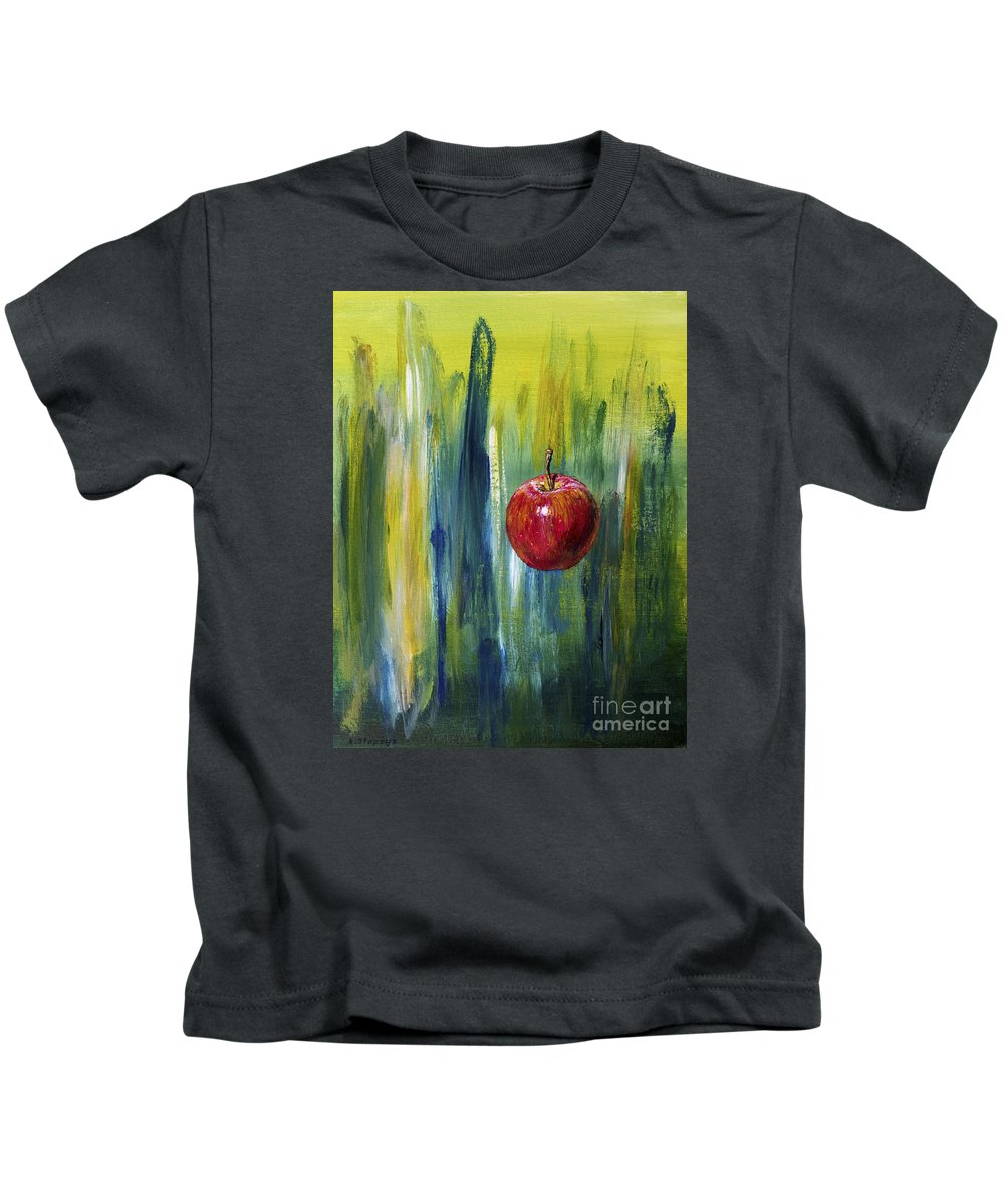 Apple Kids T-Shirt featuring the painting Apple by Arturas Slapsys