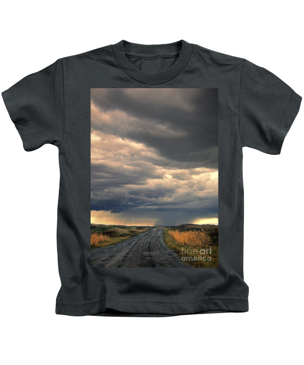 Road Kids T-Shirt featuring the photograph Approaching Storm On Country Road by Jill Battaglia