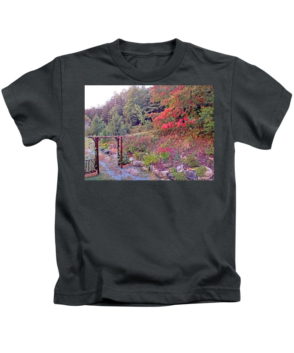 Duane Mccullough Kids T-Shirt featuring the photograph Arbor And Fall Colors by Duane McCullough