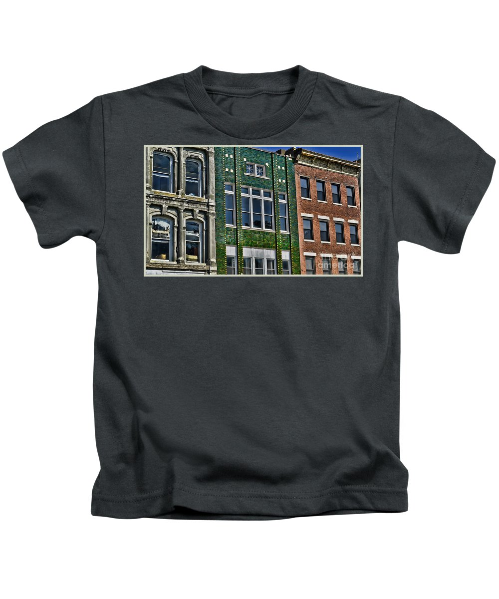 Quincy Illinois Kids T-Shirt featuring the photograph Architecture - Early City Buildings - Luther Fine Art by Luther Fine Art