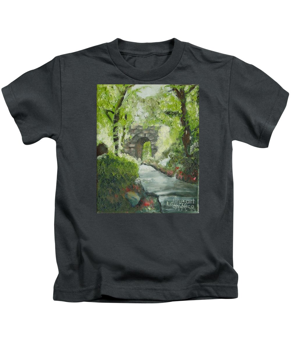 New York Kids T-Shirt featuring the painting Archway In Central Park by Laurie Morgan