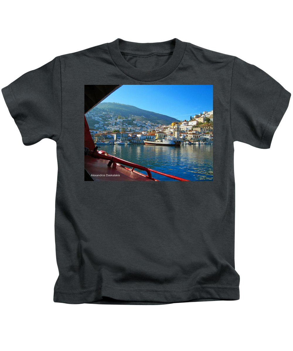 Alexandros Daskalakis Kids T-Shirt featuring the photograph Arriving At Hydra by Alexandros Daskalakis
