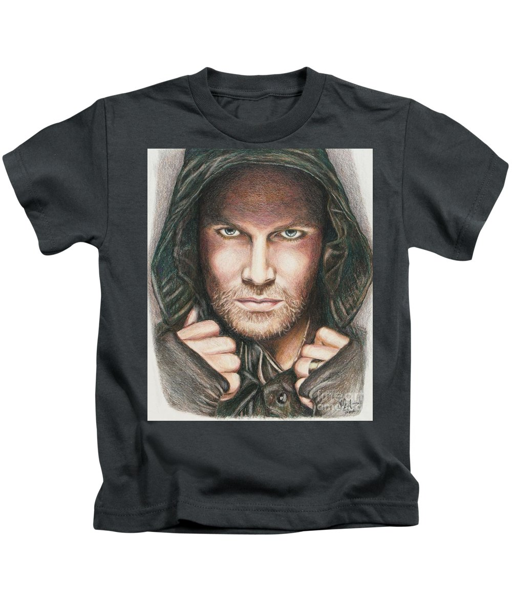 Arrow Kids T-Shirt featuring the drawing Arrow/ Stephen Amell by Christine Jepsen