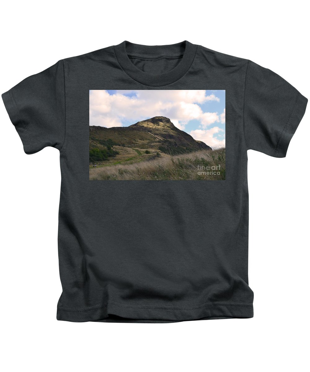 Scotland Kids T-Shirt featuring the photograph Arthur's Seat In Edinburgh by DejaVu Designs