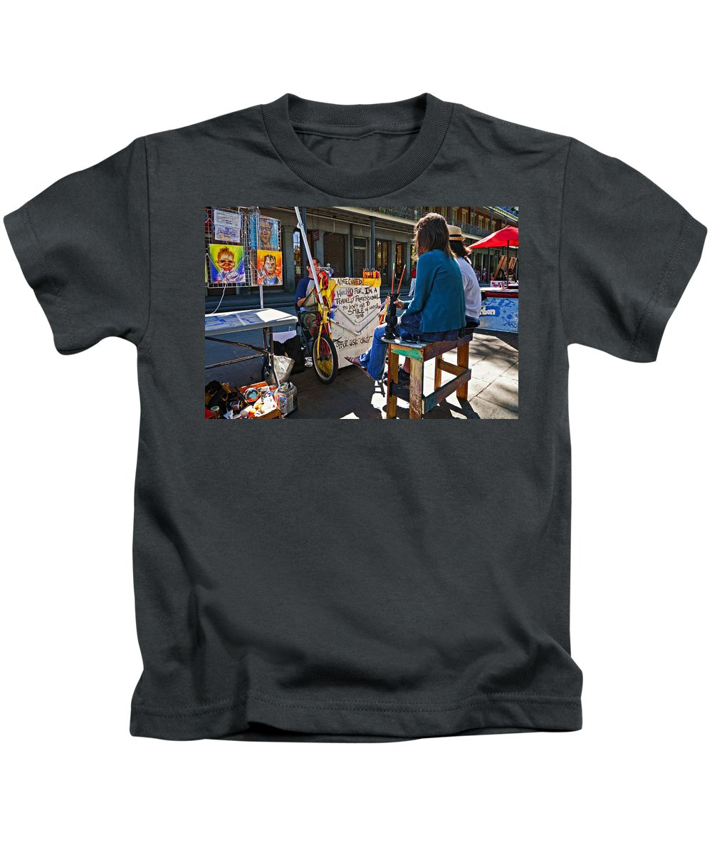 New Orleans Kids T-Shirt featuring the photograph Artist At Work by Steve Harrington