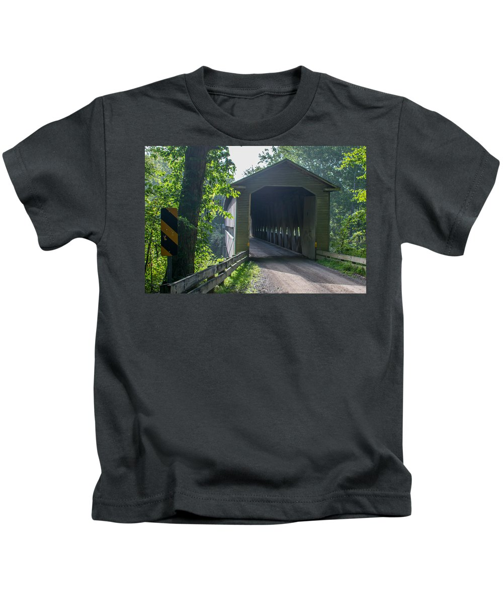 Ashtabula County Covered Bridges Kids T-Shirt featuring the photograph Ashtabula Collection - Middle Road Covered Bridge 7k01959 by Guy Whiteley