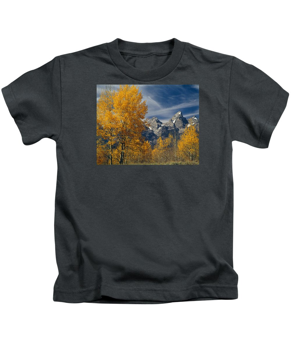 Aspens Kids T-Shirt featuring the photograph 1m9352-aspens In Autumn And The Teton Range by Ed Cooper Photography