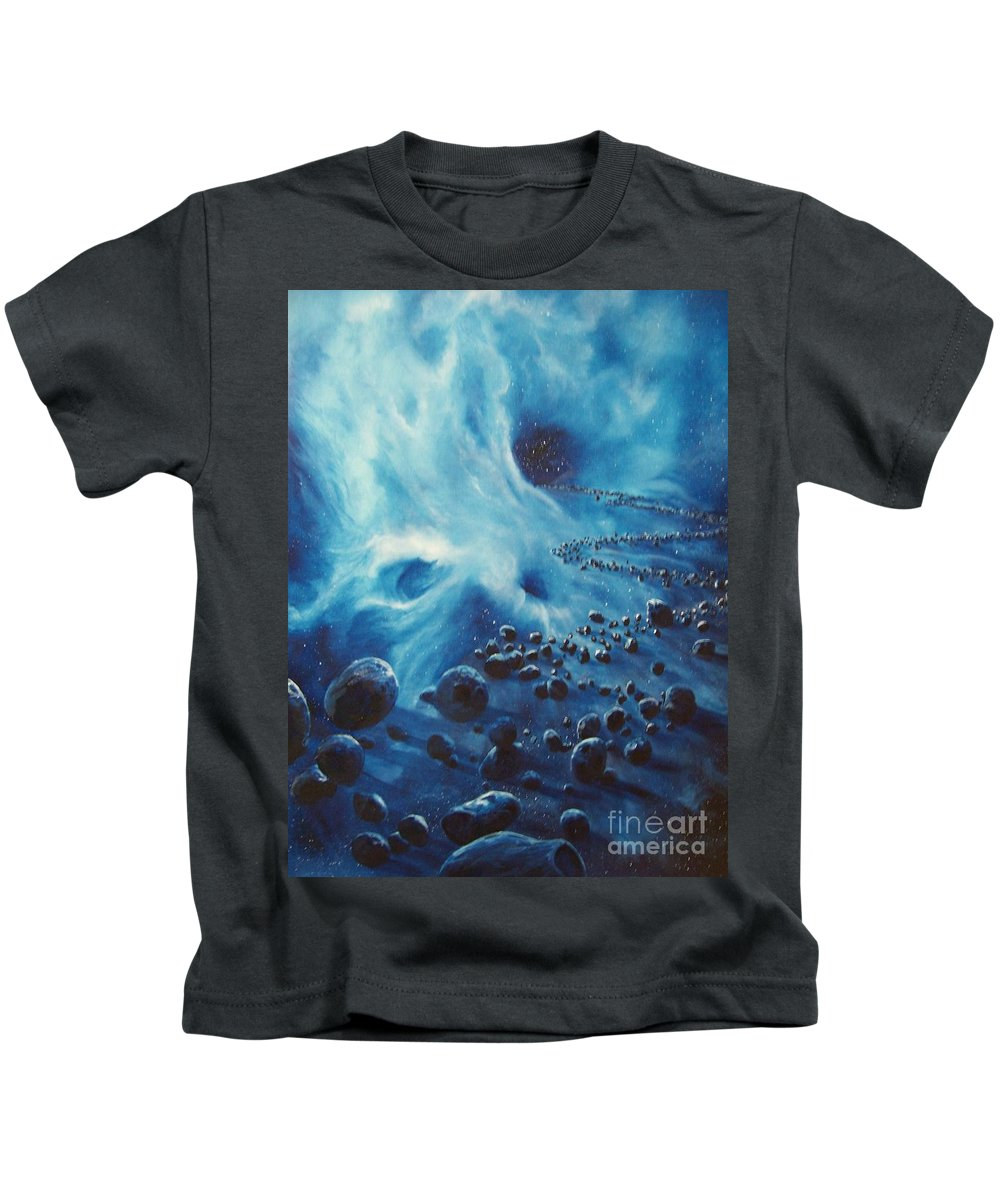 Si-fi Kids T-Shirt featuring the painting Asteroid River by Murphy Elliott