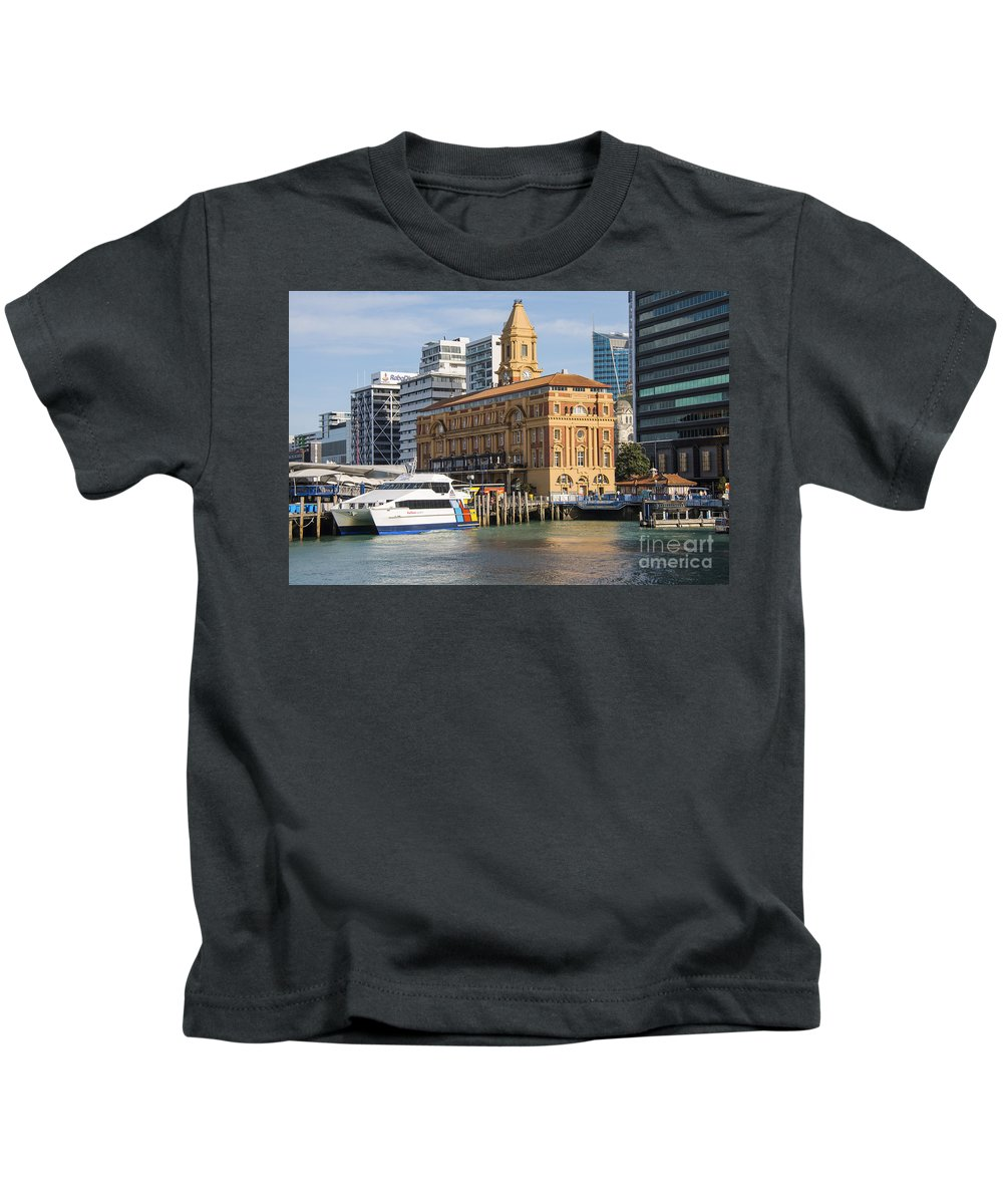 Auckland New Zealand Ferry Terminal Terminals Building Buildings Structure Structures Architecture Ally Wiseman Boat Boats Pier Piers City Cities Cityscape Cityscapes Landmark Landmarks Kids T-Shirt featuring the photograph Auckland Ferry Terminal by Bob Phillips