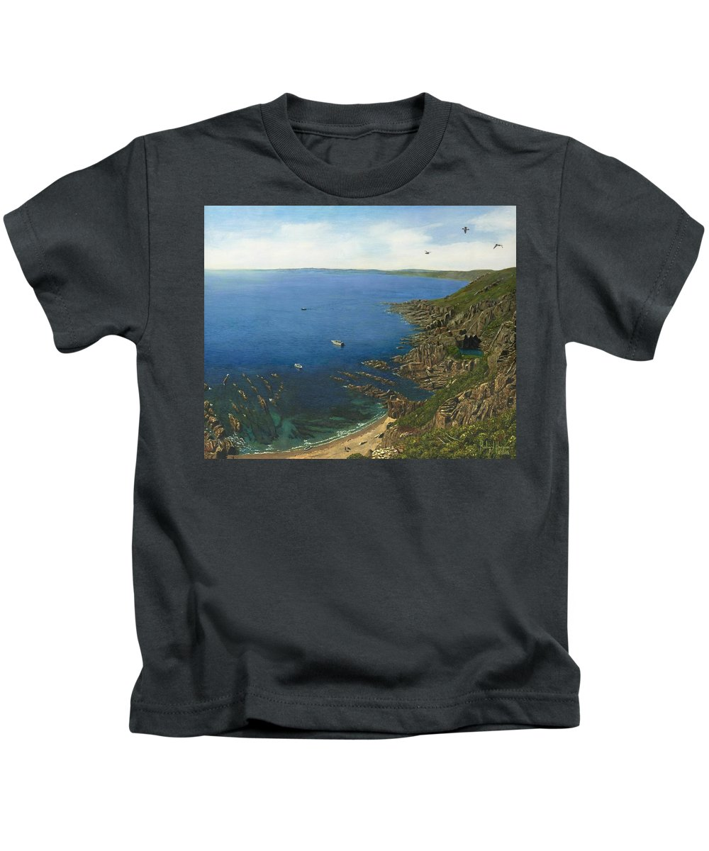 Landscape Kids T-Shirt featuring the painting August Afternoon At Whitsand Bay Cornwall by Richard Harpum