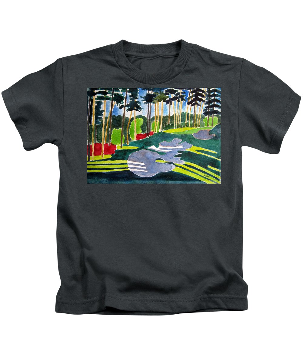 Golf Art Kids T-Shirt featuring the painting Augusta 10th Georgia by Lesley Giles