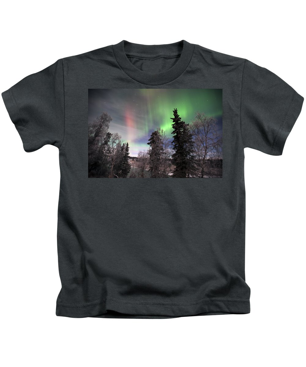 Alaska Kids T-Shirt featuring the photograph Aurora 2015 by Clint Pickarsky