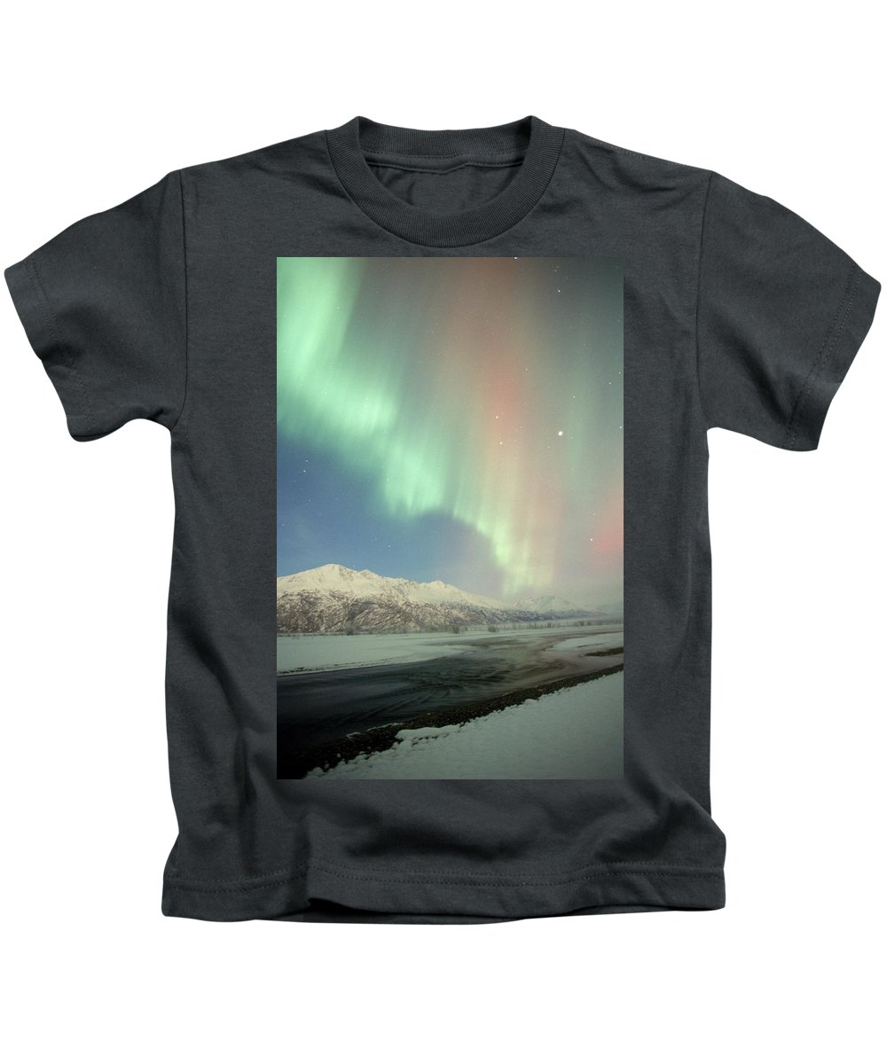 Alaska Kids T-Shirt featuring the photograph Aurora Borealis by Cary Anderson